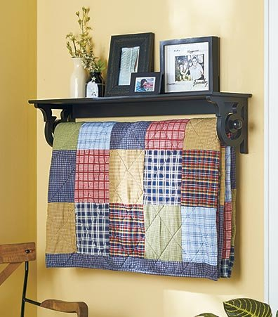 Deluxe Quilt Rack with Shelf 37-1/4''W x 7-7/8''D x 8''H by SB Goods
