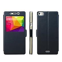 BLU Vivo Air LTE Case [View Window] [Full Range Protection], Popsky Linen Texture Slim Leather Multi-angle Stand Folio Case Cover for BLU Vivo Air LTE Smartphone (Black)