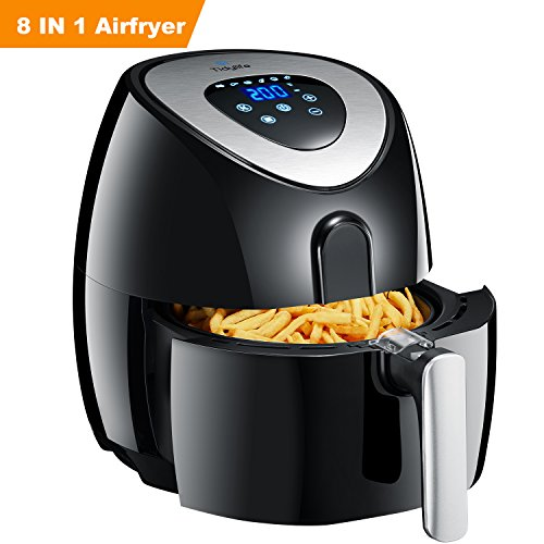 Tidylife Air Fryer, 4.5 Quarts 8-in-1 Digital Touchscreen No-oil Airfryer for Healthy life, Dishwasher Safe, Non-Stick Fry Basket, Timer,1500W(Complimentary with a 32 Recipes Book)