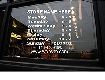 Amazoncom StickerLoaf Brand STORE HOURS NAME CUSTOM WINDOW - Window stickers for business hours