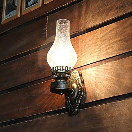 Wandleuchte, Rustikale Glasschirm,antike Kerosin-Lampen-Metallwand-Licht-Nachttischlampe LanLan