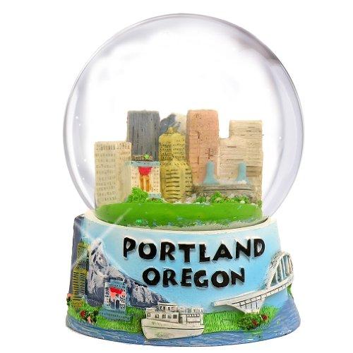 Portland Oregon Snow Globe with Skyline and Mountain Scen...
