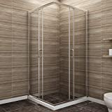 SUNNY SHOWER Corner Shower Enclosure 1/4 in. Clear Glass Double Sliding Shower Doors, 36 in. X 36 in. X 72 in. Bath Door, Chrome Finish (Shower Base Not Included)