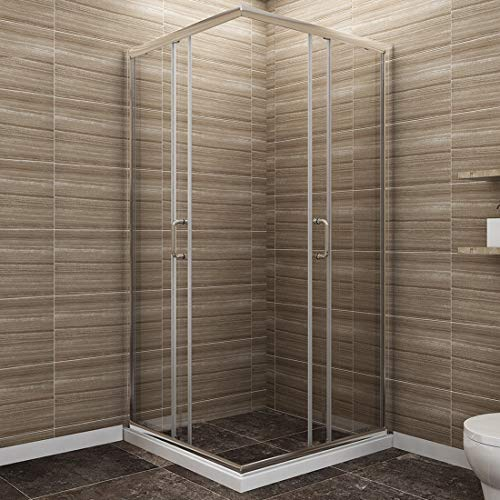 "SUNNY SHOWER Corner Shower Enclosure 1/4"" Clear Glass Double Sliding Shower Doors with Magnetic Waterproof Seal Strip, 36"" X 36"" X 72"" Bath Door, Chrome Finish (Shower Base Not Included)"