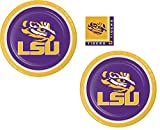 Louisiana State University LSU Plate and Napkin Bundle: 16 Dinner Plates and 20 Beverage Napkins