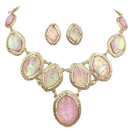 Gypsy Jewels Iridescent Foil Statement Bib Gold Tone Necklace & Stud Post Earring Set (Light Pink)
