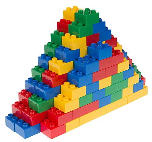 Basic Bricks Lego Duplo - Classic Big Briks | Building Brick Set 100% Compatible with All Major Brands | 2 Large Block Sizes for Ages 3+ | Premium Building Bricks in Blue, Green, Red, and Yellow | 108 Pieces