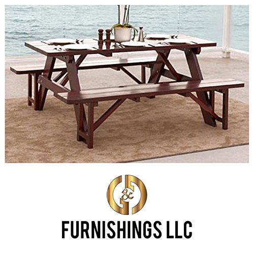 Patio Furniture Dining Set. This Rustic 3-piece Outdoor Table w/ Benches Seats up to 6 Guests Is Made From Beautiful Pine Wood to Add a Stylish, Yet Affordable Accent to Your Deck or Patio. Great Conversation Piece for Your Backyard. Guaranteed.