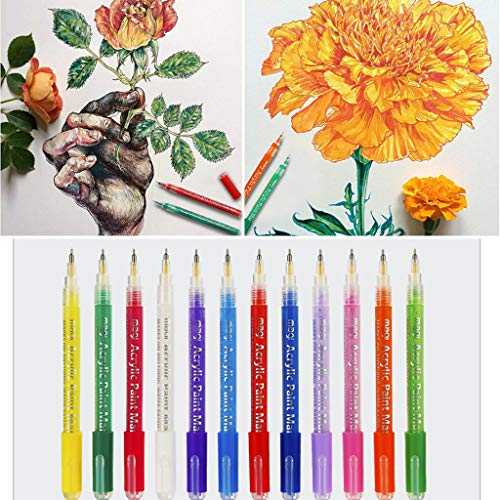 ️ Yu2d ❤️❤️ ️12 Pcs Acrylic Paint Pen for Ceramic Painting Permanent Acrylic Marker Painting]()