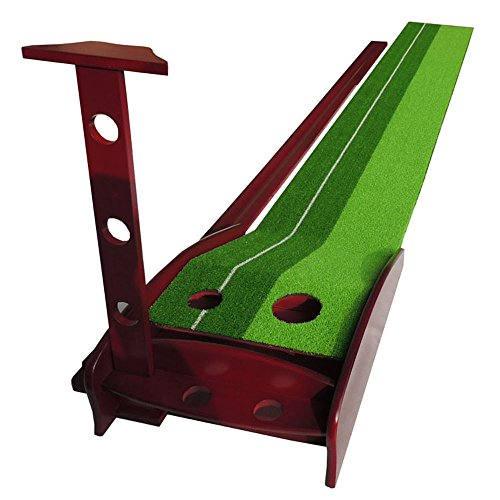 PLAYEAGLE Indoor and Outdoor Golf Putting Mat Practice Premium Wooden Puttinng Green with Ball Auto Return Pathway by PLAYEAGLE