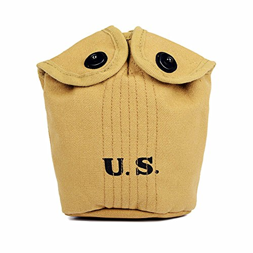 Wwii Cover - Oleader WW2 U.S. M1910 Water Bottle Holder USMC Army Equipment Canteen Cover WWII Khaki Canvas