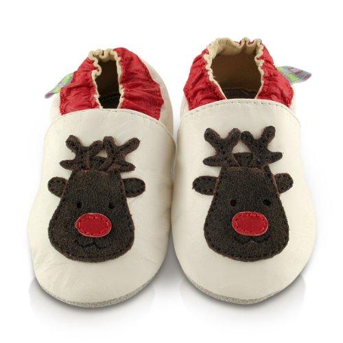 Rena Natal De Monate Aconchegar 12 Feet 6 Weihnachten 6 Sapatos Leder Pés Couro Do Babyschuhe Do Rentiere Bebê Weich Macio Meses 12 Snuggle wFq6aC