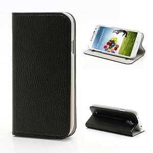 Funda de cuero y cierre de ventosa para Samsung Galaxy S IV/4. Negro
