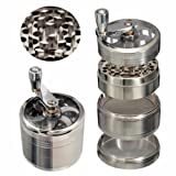 Skyndi Zinc Alloy Large 4 Piece 3 Chamber 2 inch / 53 mm Herb, Spice Grinder with Handle - Silver