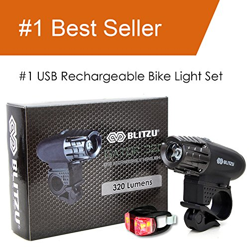 Blitzu-Gator-320-USB-Rechargeable-Bike-Light-Set-POWERFUL-Lumens-Bicycle-Headlight-FREE-TAIL-LIGHT-LED-Front-and-Back-Rear-Lights-Easy-To-Install-for-Kids-Men-Women-Road-Cycling-Safety-Flashlight