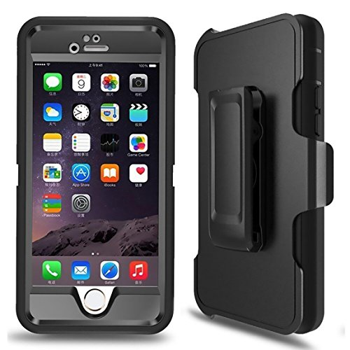 iPhone 6 Case, iPhone 6s Defender Case with Belt Clip, Kickstand, Holster, Heavy Duty, Dropproof, Shockproof, Built-in Screen Protector Rugged Rubber Case Compatible with iPhone 6/6S