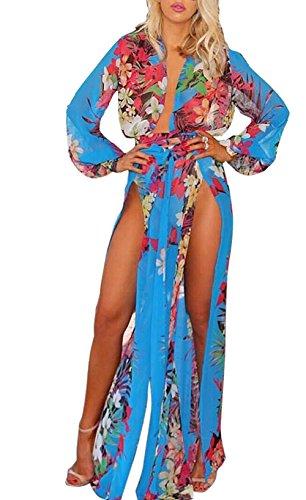 [LKOUS Women's Long Sleeve High Split Maxi Beach Dress Bikini Swimsuit Cover Up] (Pageant Suits)