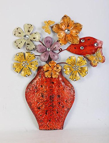 TWG Orange Floral Antique Orange Floral Bouquet Metal Wall Art - cute orange abstract wall art