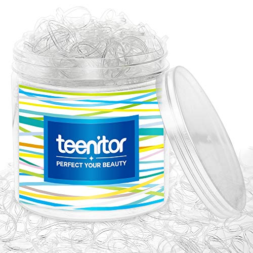 Clear Elastic Hair Bands, Teenitor 2000pcs Mini Hair Rubber Bands with a Box, Soft Hair Elastics Ties Bands 2mm in Width…