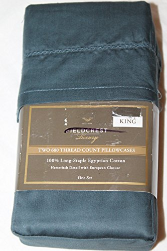 - Fieldcrest Luxury, 100% Long-Staple Egyptian Cotton Pillowcase Set, 600 Thread Count, Teal, KING