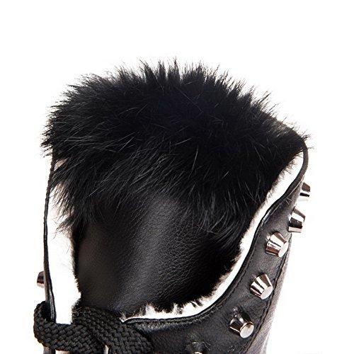 AllhqFashion Damen Schnüren Rund Zehe Niedriger Absatz Niedrig-Spitze Stiefel mit Rivet Set Schwarz