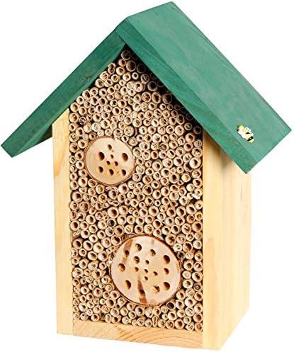 dobar Insektenhotels 22622e Bienenhaus Schilfinger mit Schilfrohrhalmen und Aststücken, grünes Dach