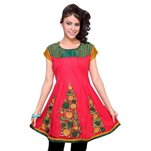 jayayamala Couleur Rouge Soie Coton Multi Color Flower Tunique brodée