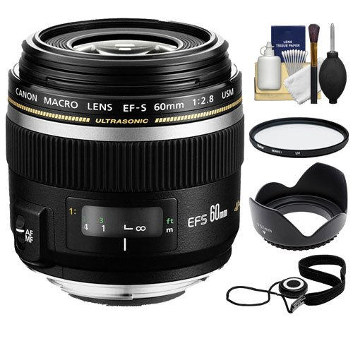 Canon EF-S 60mm f/2.8 Macro USM Lens + UV Filter + Hood + Kit for EOS 7D, 70D, 80D, Rebel T5, T5i, T6, T6i, T6s, SL1 DSLR Cameras by Canon