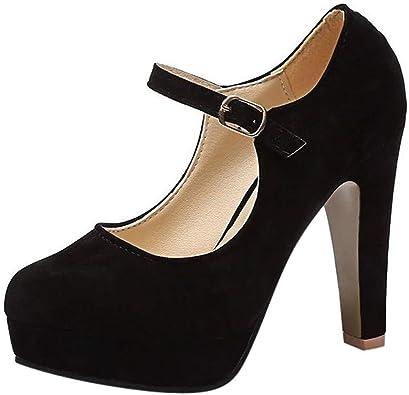 Chaussures Femme FantaisieZ Talon Haut Carré Aiguilles Mode Escarpin Sangle De Boucle Bout Rond DéContracté Sandales Plateforme Mocassins Noir
