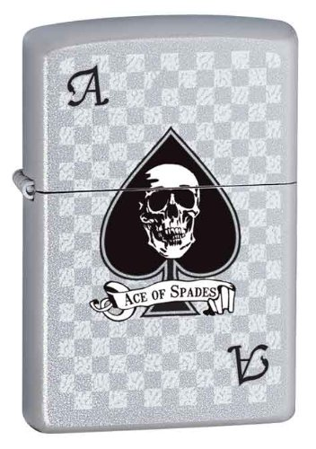 - Gamblers Lucky High Card Black Ace of Spade Skull Zippo Lighter