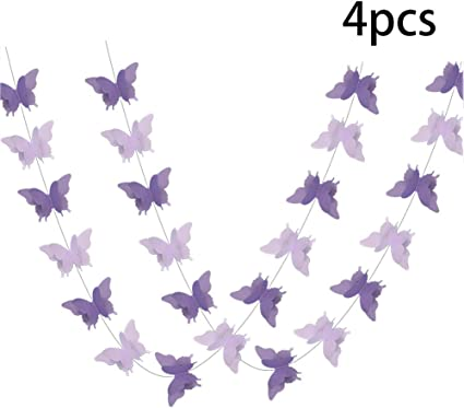 Butterfly Hanging Garland Party Decoration 4 Pack 3D Paper Bunting Banner For We