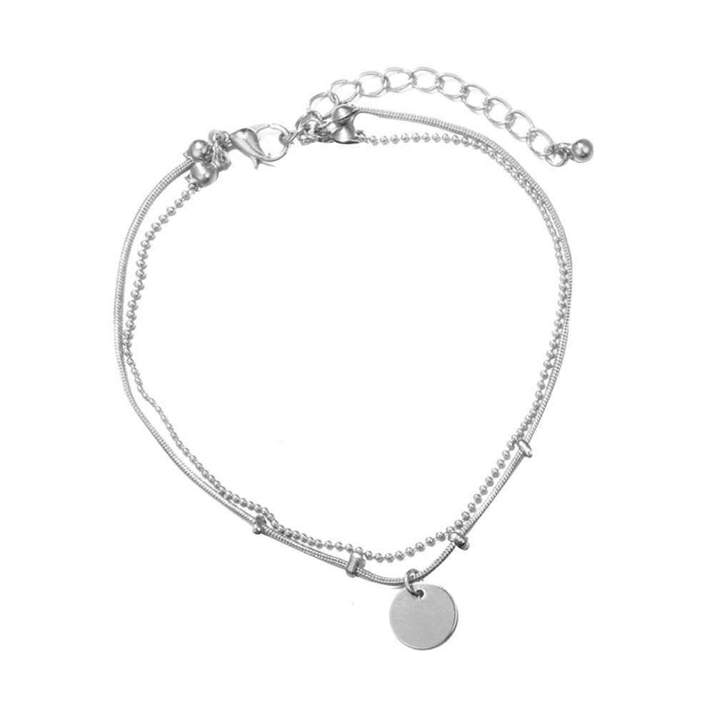 Women Chic Disc Anklet Beach Sandal Barefoot Jewelry Multi-Layer Ankle Bracelet