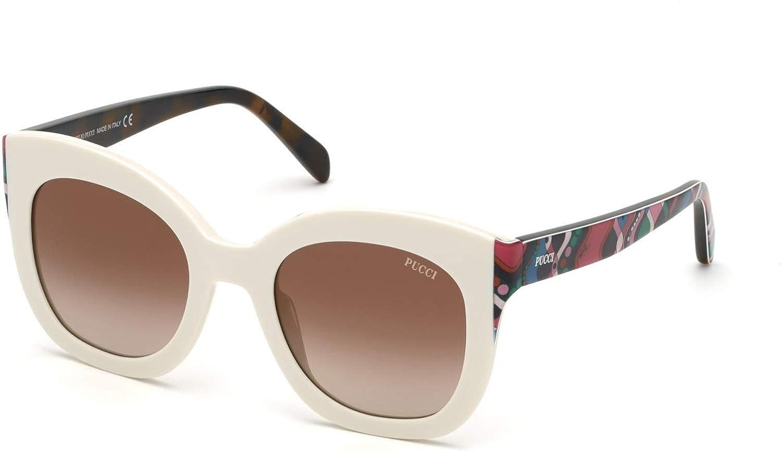 Havana//g Blue /& Fuchsia Gaiola Print Sunglasses Emilio Pucci EP 0097 25G White