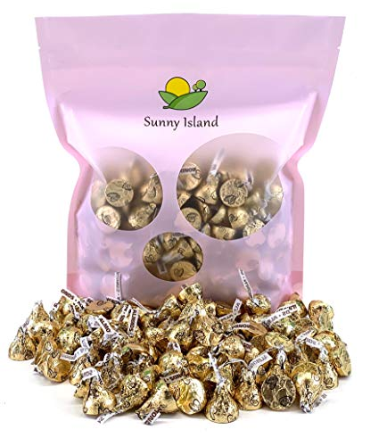 Sunny Island Bulk - Hershey's Kisses Gold Foils Milk Chocolate with Almonds, 2 Pounds Bag ()