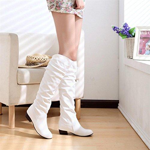 Elevin (tm) 2018 Dames Winter Warme Mode Hoge Laarzen Hoge Hak Platte Hakken Rijlaarzen Wit