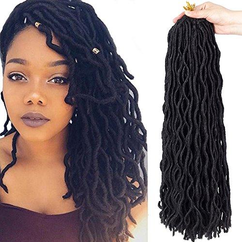 6Packs 14'' Wavy Faux Locs Crochet Hair Braids Twist Synthetic Hair Extensions Dreadlocks Curly Faux locs Havana Mambo Twist Afro Kanekalon Braiding Hair 14 inch 1B 24Roots (14'' (6 packs/lot), 1B#)