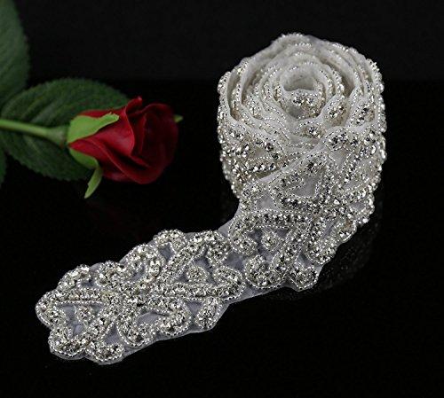QueenDream 1 Yard Crystal Rhinestone Trimming, Rhinestone Applique, Bridal Belt, Wedding Applique, Sash Applique, DIY ()