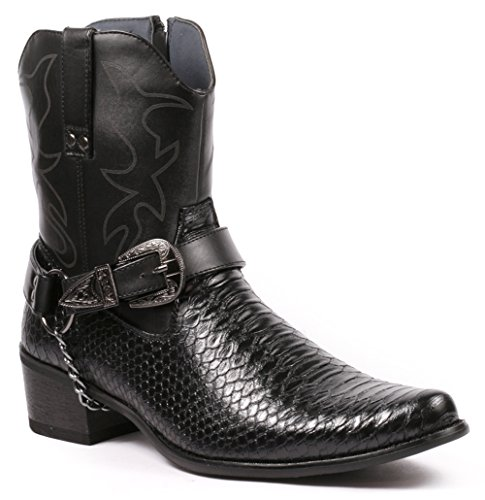 Metrocharm Diego-01 Men's Belt Buckle Chain Strap Western Cowboy Boots (8.5, Black)