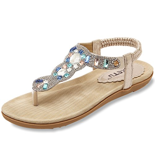 ZOEREA Ladies Sandals Peep Toe T-Strap Bohemia Women Sandals Flats Flip Flops Beach Holiday (9 B(M) US, Gold)