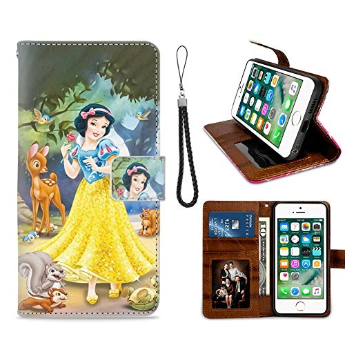 for iPhone 7 Plus, iPhone 8 Plus Wallet Case Snow White with Little Animals Flip Leather Case with Kickstand PU Leather Stand Folio Cover Case for iPhone 7/8 Plus
