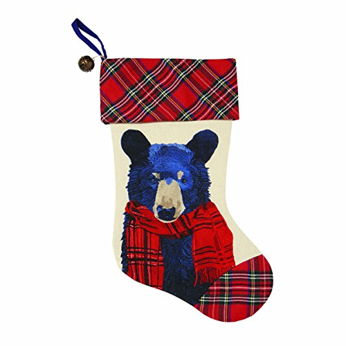 C.R. Gibson Blue Bear Plaid Christmas Stocking with Jingle Bell, 16.5''