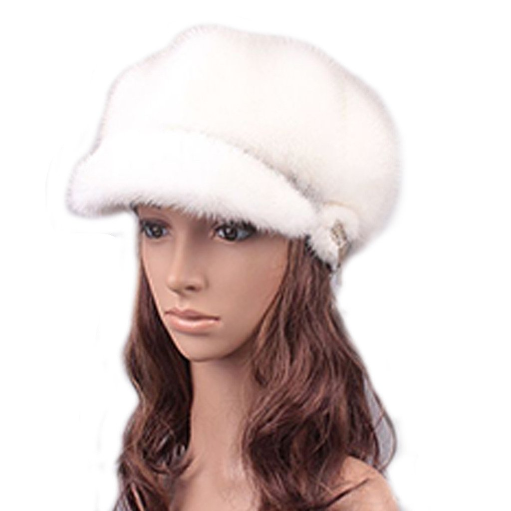 UK.GREIFF Women's Trendy Adjustable Mink Fur Newsboy Caps Winter Hat White by UK.GREIFF