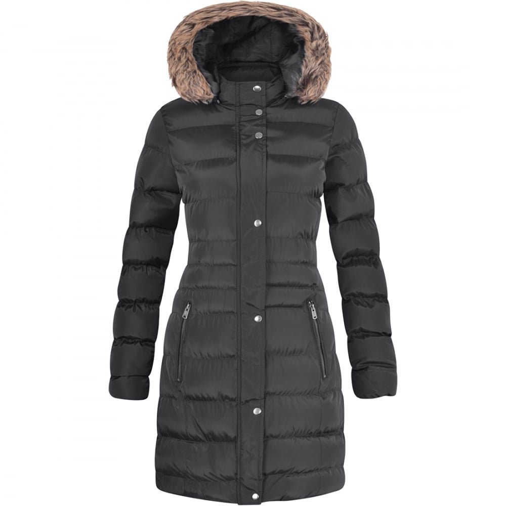 Spindle Womens Long Fur Trimmed Hooded Padded Puffer Parka Ladies Winter Jacket Coat
