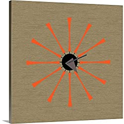 Mid Century Spindle Clock Canvas Wall Art Print, 30x30x1.25