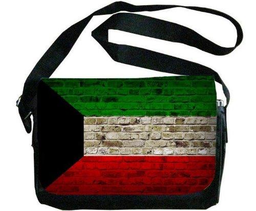 Kuwait Flag Brick Wall Design Messenger Bag