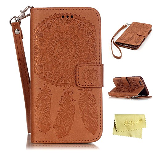 iPhone 6s Plus Case,iPhone 6s Plus Wallet Case,MT Mall(TM) for iPhone 6 6s Plus PU Leather Case[Hand Strap]Flip Folio Magnetic Design[Built in Credit Card Slots]with Dream Catcher - Mall Mt