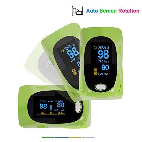 Yonker YK-82 Fingertip Pulse Oximeter Blood Oxygen SPO2 PR Heart Rate Monitor Auto Rotation OLED Display (Green)