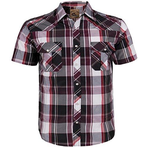 Coevals Club Men's Button Down Plaid Short Sleeve Work Casual Shirt (Purple & Black #20, XXL)