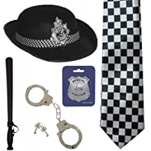 British WPC Police Cop Woman Hat Tie Badge Truncheon Cuffs Fancy Dress 5Pc Set BY (WOT) by World OF Toys