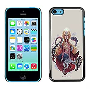 """For Apple iPhone 5C Case , Pintura Mujer Serpiente Serpiente Espiritualidad Arte"""" - Diseño Patrón Teléfono Caso Cubierta Case Bumper Duro Protección Case Cover Funda"""